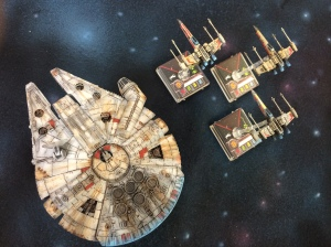 repainted Millennium Falcon and X-Wings
