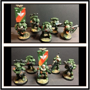 Level 2 space Marines. These marines are level 1 with the addition of the edge highlights mad the freehand insignia and back banners. Without those two elements they would be level 1. The bases are type 1, texture paint base coated and drybrushed.